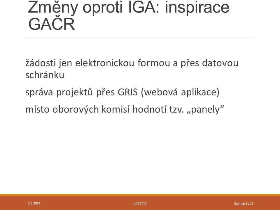 Snímek 4 z 17 Změny oproti IGA: inspirace GAČR žádosti jen elektronickou formou a přes datovou schránku správa projektů přes GRIS (webová aplikace) mí