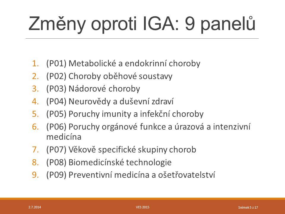 Snímek 5 z 17 Změny oproti IGA: 9 panelů 1.(P01) Metabolické a endokrinní choroby 2.(P02) Choroby oběhové soustavy 3.(P03) Nádorové choroby 4.(P04) Ne