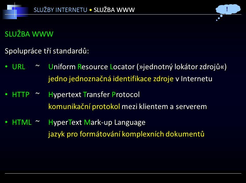 SLUŽBA WWW Spolupráce tří standardů: URL ~Uniform Resource Locator (»jednotný lokátor zdrojů«) jedno jednoznačná identifikace zdroje v Internetu HTTP ~Hypertext Transfer Protocol komunikační protokol mezi klientem a serverem HTML ~HyperText Mark-up Language jazyk pro formátování komplexních dokumentů Spolupráce tří standardů: URL ~Uniform Resource Locator (»jednotný lokátor zdrojů«) jedno jednoznačná identifikace zdroje v Internetu HTTP ~Hypertext Transfer Protocol komunikační protokol mezi klientem a serverem HTML ~HyperText Mark-up Language jazyk pro formátování komplexních dokumentů SLUŽBY INTERNETU SLUŽBA WWW !