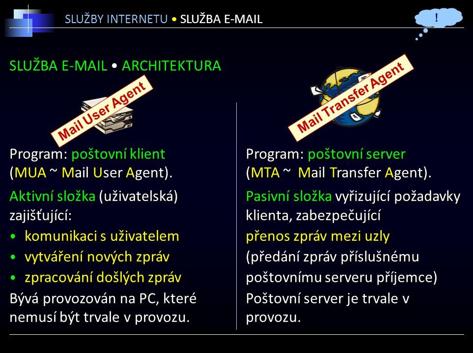 SLUŽBA E-MAIL ARCHITEKTURA SLUŽBY INTERNETU SLUŽBA E-MAIL Program: poštovní klient (MUA ~ Mail User Agent).