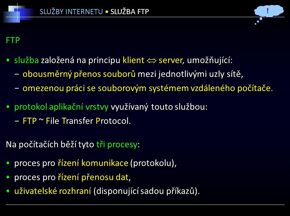 FTP služba založená na principu klient  server, umožňující: −obousměrný přenos souborů mezi jednotlivými uzly sítě, −omezenou práci se souborovým systémem vzdáleného počítače.
