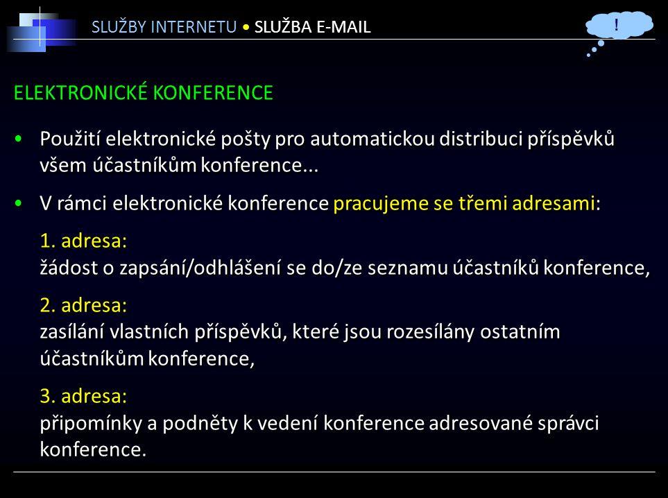 ELEKTRONICKÉ KONFERENCE Použití elektronické pošty pro automatickou distribuci příspěvků všem účastníkům konference...