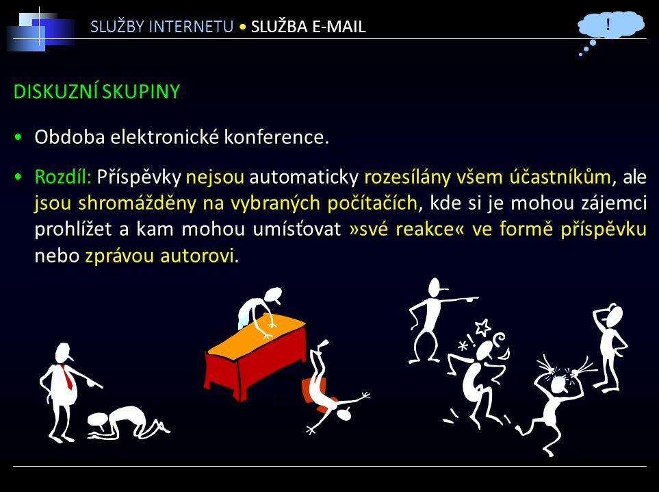 DISKUZNÍ SKUPINY Obdoba elektronické konference.