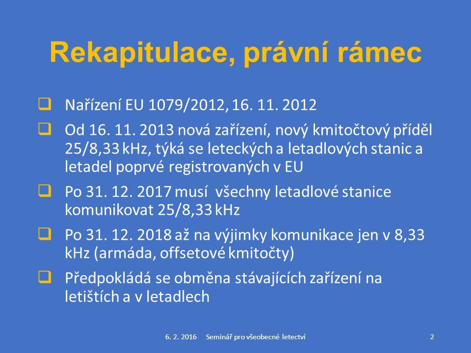 Rekapitulace, právní rámec  Nařízení EU 1079/2012, 16.
