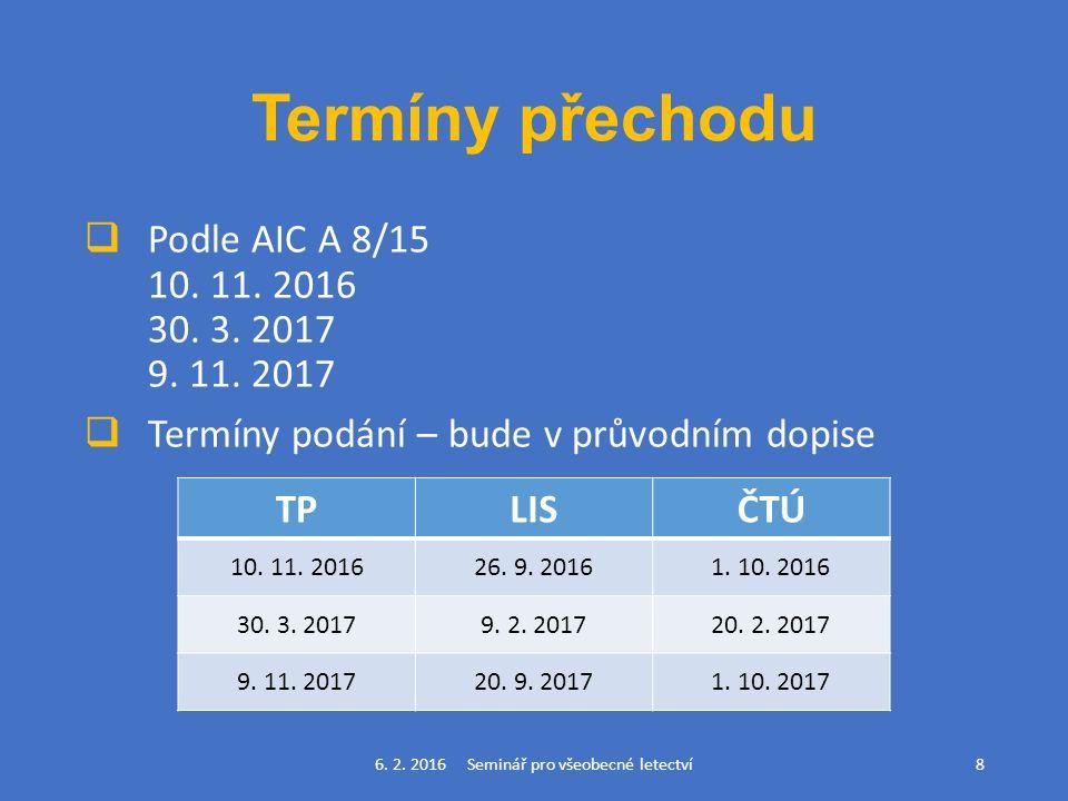 Termíny přechodu  Podle AIC A 8/15 10. 11. 2016 30.