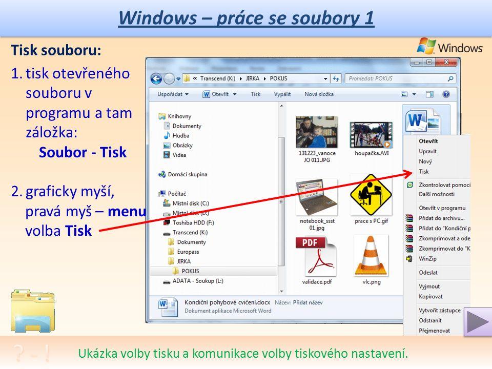 Windows – práce se soubory 1 Vymazání souboru: 1.klávesou DELETE, označit soubor a stisknout Delete 2.graficky myší, pravá myš – menu volba Odstranit Vysvětlení významu Stavového řádku a důležitost jeho sledování.