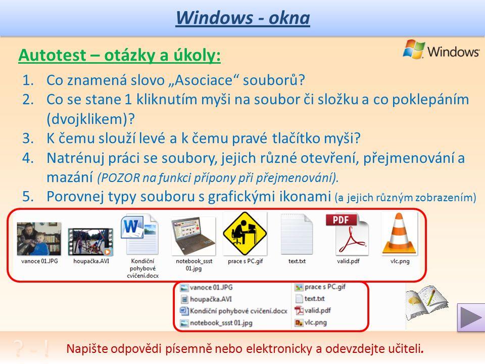 """Windows – práce se soubory 1 Další práce se soubory: 1.výběr všech souborů 2.výběr souborů v souvislém celku (od-do) 3.výběr více souborů označením (""""napřeskáčku ) 4.kopírování 5.přesun 6.další operace, navazující na dosavadní znalosti a dovednosti Dokončení práce se soubory následuje."""