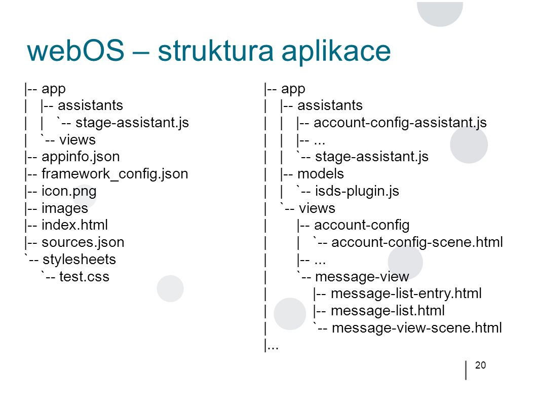 20 webOS – struktura aplikace |-- app | |-- assistants | | |-- account-config-assistant.js | | |--... | | `-- stage-assistant.js | |-- models | | `--