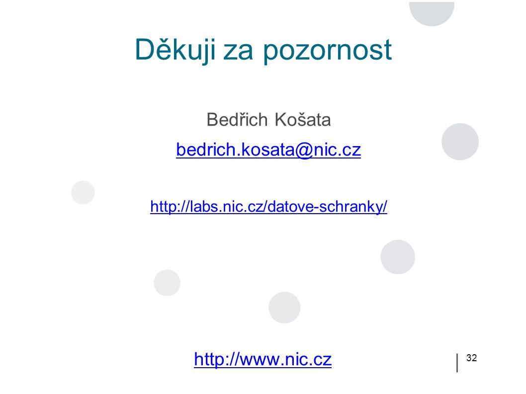 32 Děkuji za pozornost Bedřich Košata bedrich.kosata@nic.cz http://labs.nic.cz/datove-schranky/ http://www.nic.cz