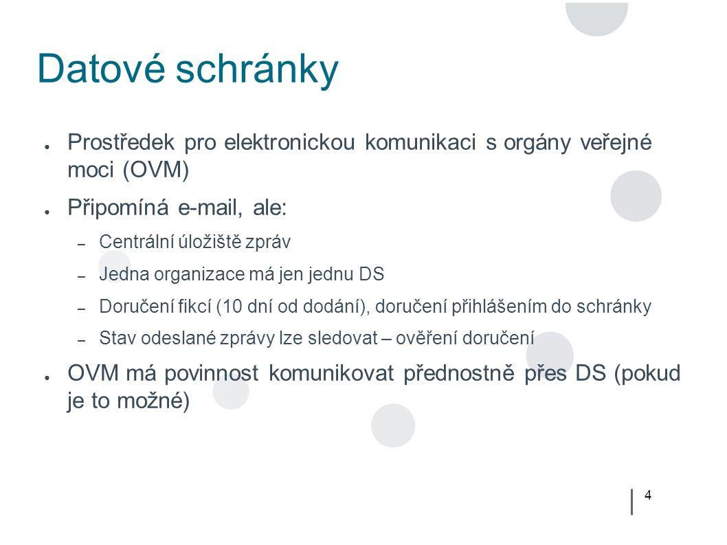 4 Datové schránky ● Prostředek pro elektronickou komunikaci s orgány veřejné moci (OVM) ● Připomíná e-mail, ale: – Centrální úložiště zpráv – Jedna organizace má jen jednu DS – Doručení fikcí (10 dní od dodání), doručení přihlášením do schránky – Stav odeslané zprávy lze sledovat – ověření doručení ● OVM má povinnost komunikovat přednostně přes DS (pokud je to možné)