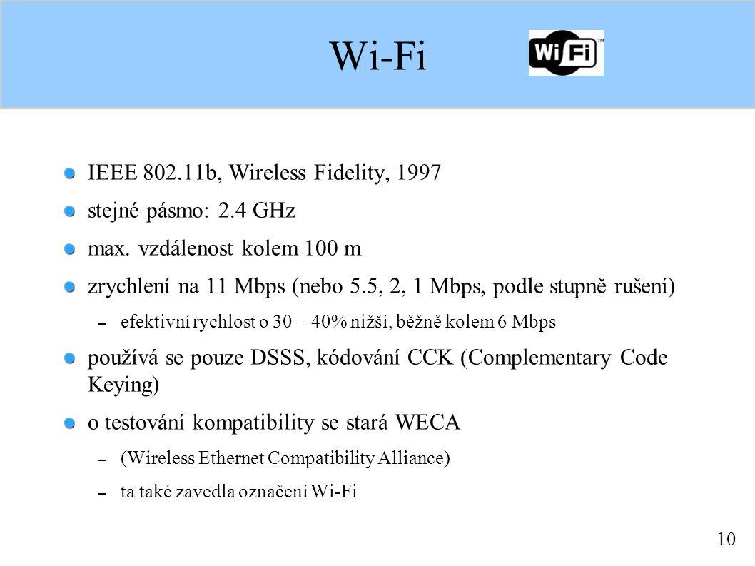 10 Wi-Fi IEEE 802.11b, Wireless Fidelity, 1997 stejné pásmo: 2.4 GHz max.