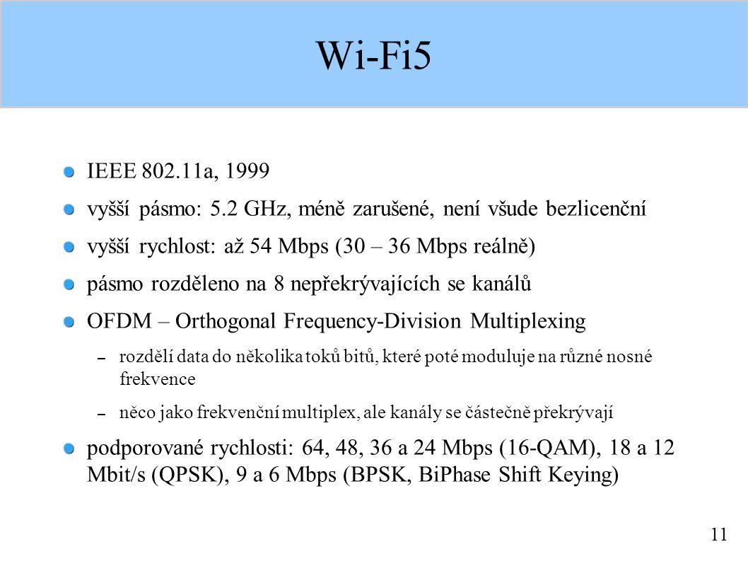 11 Wi-Fi5 IEEE 802.11a, 1999 vyšší pásmo: 5.2 GHz, méně zarušené, není všude bezlicenční vyšší rychlost: až 54 Mbps (30 – 36 Mbps reálně) pásmo rozděleno na 8 nepřekrývajících se kanálů OFDM – Orthogonal Frequency-Division Multiplexing – rozdělí data do několika toků bitů, které poté moduluje na různé nosné frekvence – něco jako frekvenční multiplex, ale kanály se částečně překrývají podporované rychlosti: 64, 48, 36 a 24 Mbps (16-QAM), 18 a 12 Mbit/s (QPSK), 9 a 6 Mbps (BPSK, BiPhase Shift Keying)