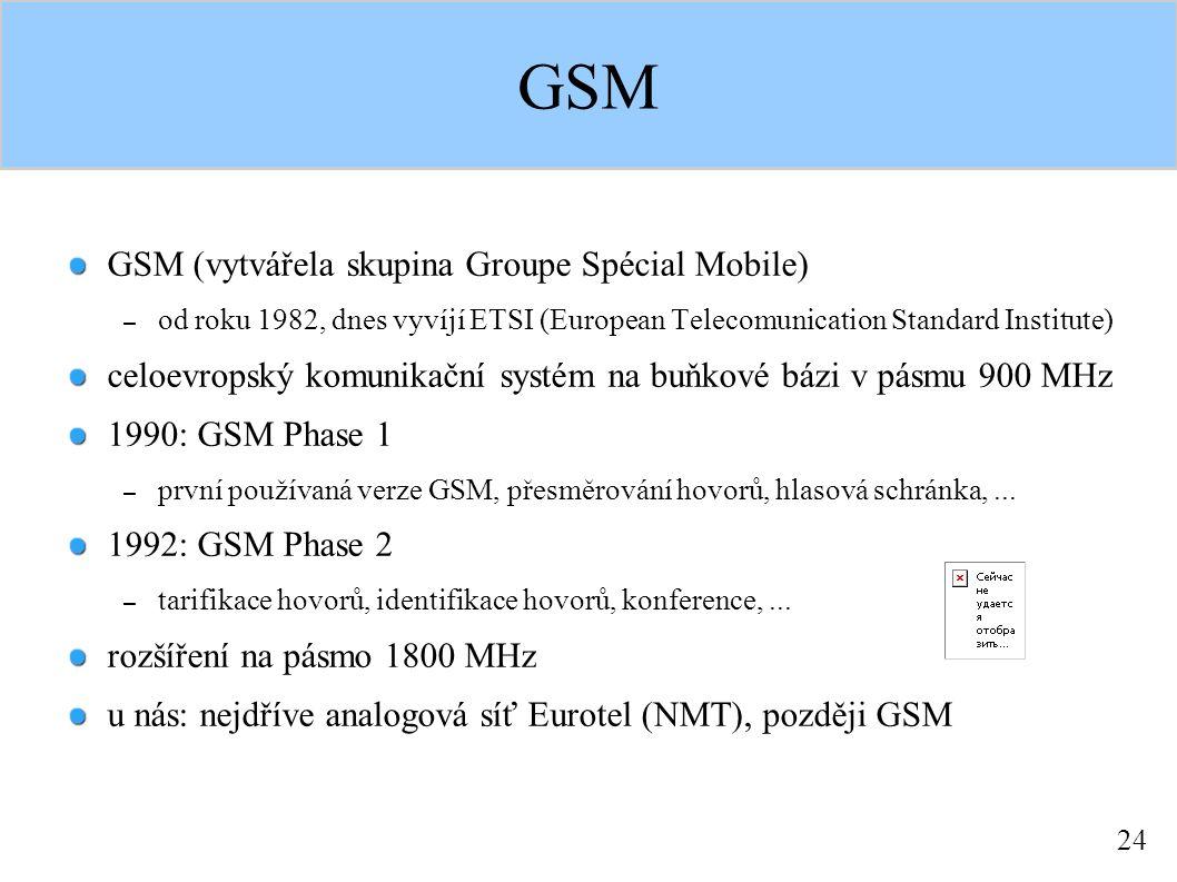 24 GSM GSM (vytvářela skupina Groupe Spécial Mobile) – od roku 1982, dnes vyvíjí ETSI (European Telecomunication Standard Institute) celoevropský komunikační systém na buňkové bázi v pásmu 900 MHz 1990: GSM Phase 1 – první používaná verze GSM, přesměrování hovorů, hlasová schránka,...