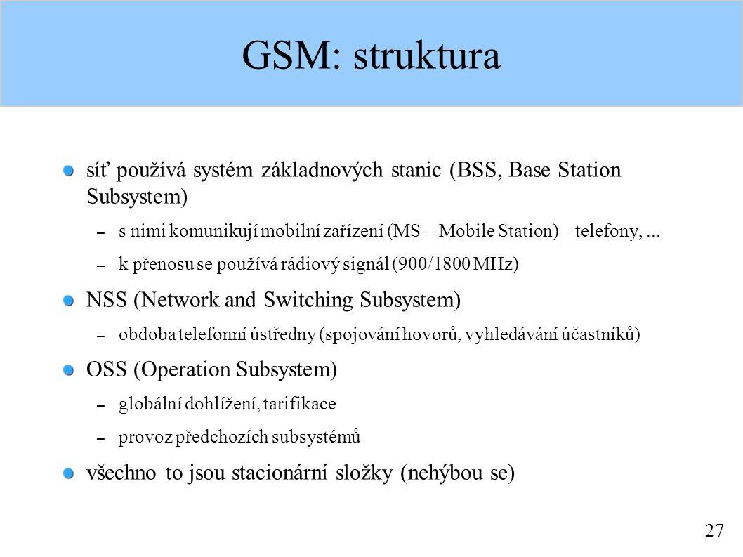 27 GSM: struktura síť používá systém základnových stanic (BSS, Base Station Subsystem) – s nimi komunikují mobilní zařízení (MS – Mobile Station) – telefony,...