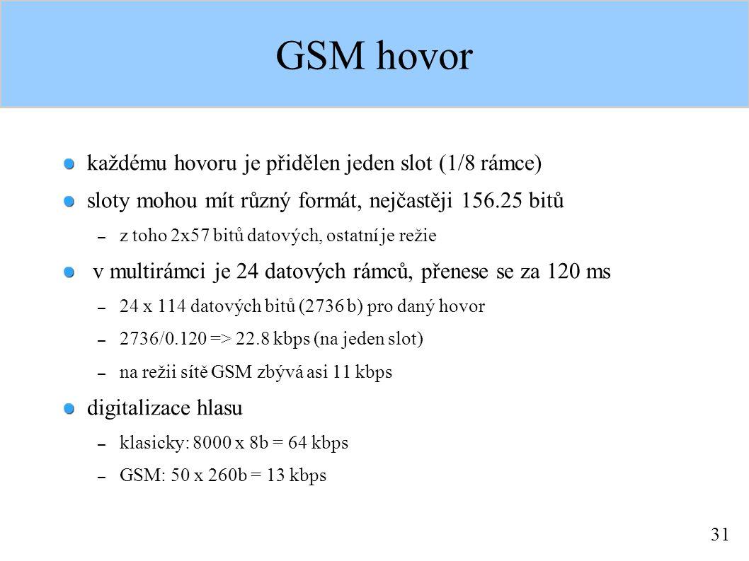 31 GSM hovor každému hovoru je přidělen jeden slot (1/8 rámce) sloty mohou mít různý formát, nejčastěji 156.25 bitů – z toho 2x57 bitů datových, ostatní je režie v multirámci je 24 datových rámců, přenese se za 120 ms – 24 x 114 datových bitů (2736 b) pro daný hovor – 2736/0.120 => 22.8 kbps (na jeden slot) – na režii sítě GSM zbývá asi 11 kbps digitalizace hlasu – klasicky: 8000 x 8b = 64 kbps – GSM: 50 x 260b = 13 kbps