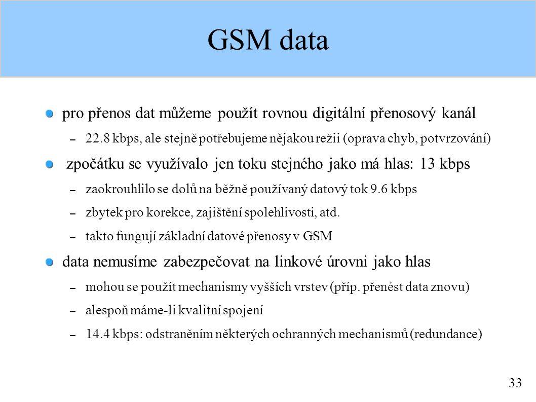 33 GSM data pro přenos dat můžeme použít rovnou digitální přenosový kanál – 22.8 kbps, ale stejně potřebujeme nějakou režii (oprava chyb, potvrzování) zpočátku se využívalo jen toku stejného jako má hlas: 13 kbps – zaokrouhlilo se dolů na běžně používaný datový tok 9.6 kbps – zbytek pro korekce, zajištění spolehlivosti, atd.