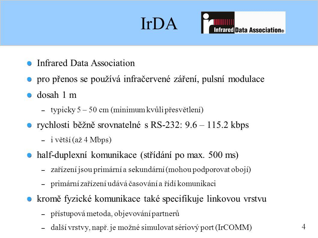 4 IrDA Infrared Data Association pro přenos se používá infračervené záření, pulsní modulace dosah 1 m – typicky 5 – 50 cm (minimum kvůli přesvětlení) rychlosti běžně srovnatelné s RS-232: 9.6 – 115.2 kbps – i větší (až 4 Mbps) half-duplexní komunikace (střídání po max.
