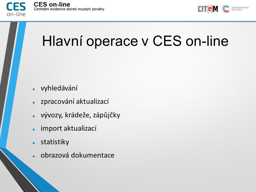 Hlavní operace v CES on-line vyhledávání zpracování aktualizací vývozy, krádeže, zápůjčky import aktualizací statistiky obrazová dokumentace