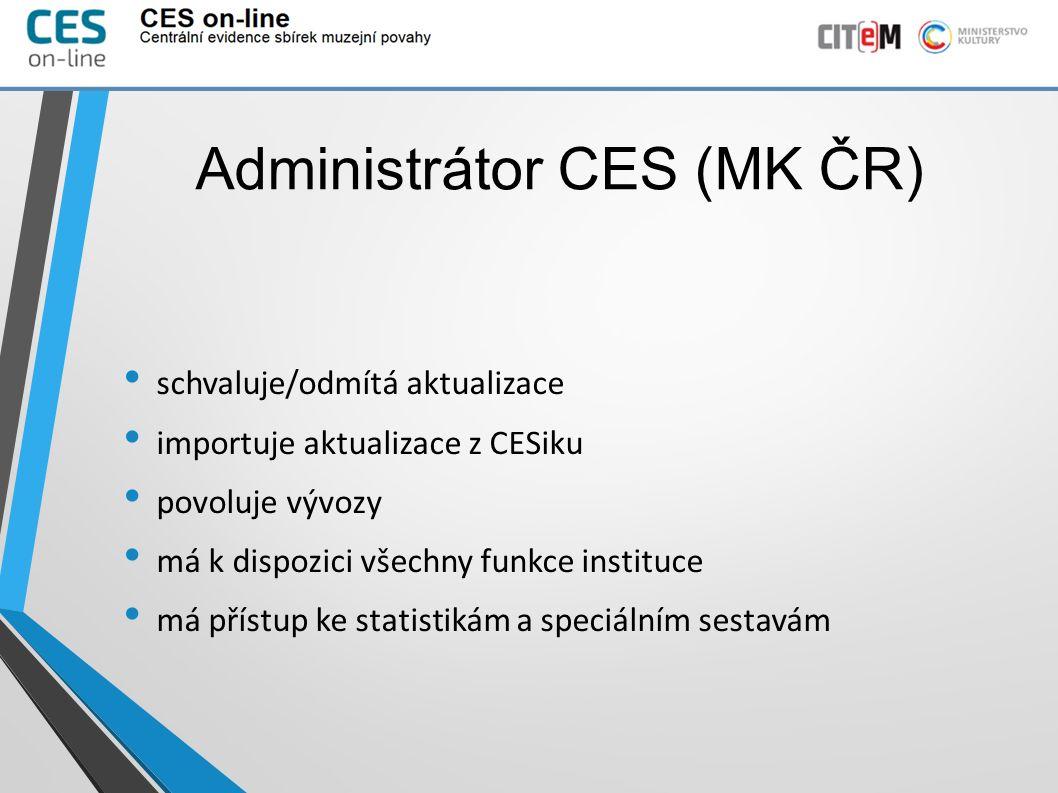Administrátor CES (MK ČR) schvaluje/odmítá aktualizace importuje aktualizace z CESiku povoluje vývozy má k dispozici všechny funkce instituce má přístup ke statistikám a speciálním sestavám