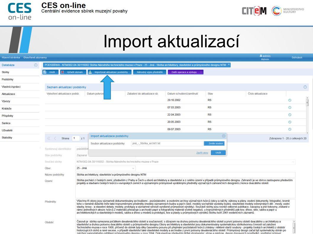 Import aktualizací