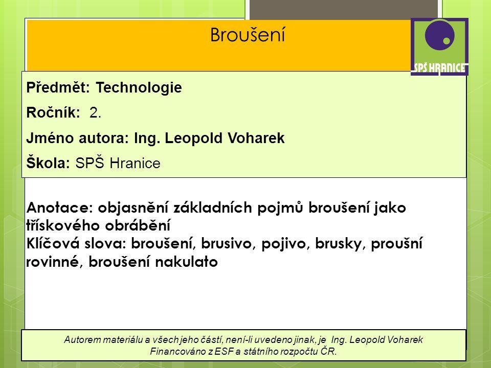 Broušení Předmět: Technologie Ročník: 2. Jméno autora: Ing.