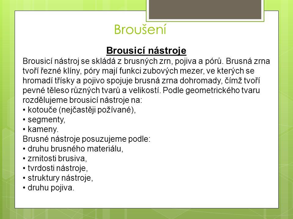 Brousicí nástroje Brousicí nástroj se skládá z brusných zrn, pojiva a pórů.