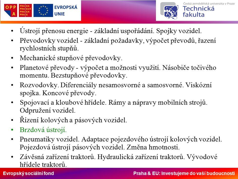 Evropský sociální fond Praha & EU: Investujeme do vaší budoucnosti Brzdová ústrojí Základní pojmy Hydraulický systém je typický tím, že působící síly jsou ve stejném poměru, v jakém jsou velikosti ploch jejich pístků, tzn., na pístek který má větší plochu působí větší síla a naopak, přičemž tlak kapaliny je stejný ale zdvihy pístků jsou v opačném poměru než působící síly.