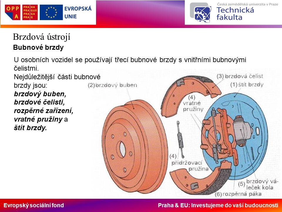 Evropský sociální fond Praha & EU: Investujeme do vaší budoucnosti Brzdová ústrojí Bubnové brzdy U osobních vozidel se používají třecí bubnové brzdy s vnitřními bubnovými čelistmi.