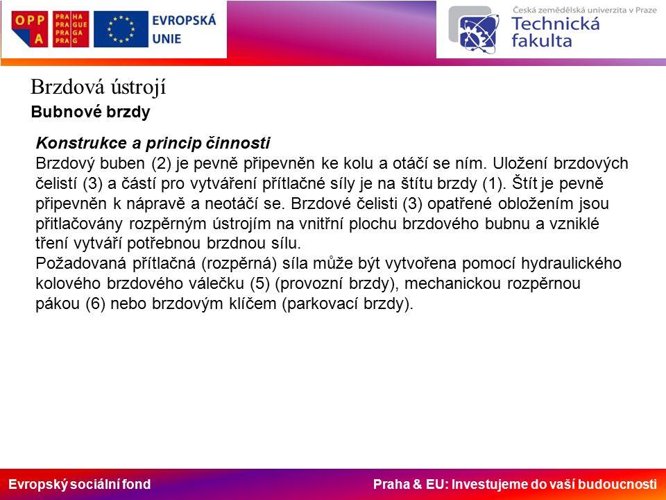 Evropský sociální fond Praha & EU: Investujeme do vaší budoucnosti Brzdová ústrojí Bubnové brzdy Konstrukce a princip činnosti Brzdový buben (2) je pevně připevněn ke kolu a otáčí se ním.