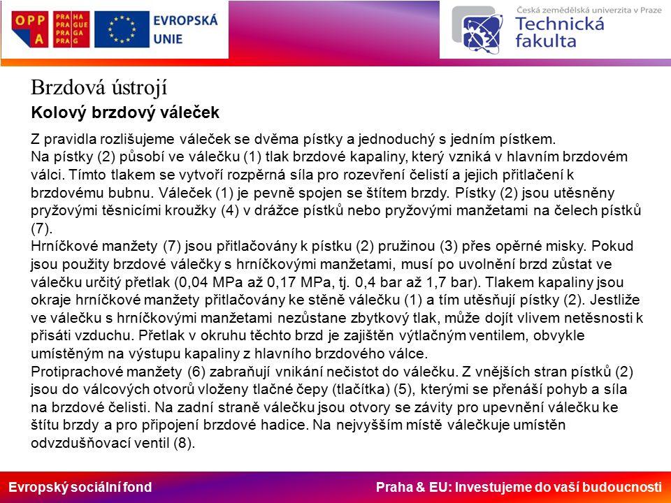 Evropský sociální fond Praha & EU: Investujeme do vaší budoucnosti Brzdová ústrojí Kolový brzdový váleček Z pravidla rozlišujeme váleček se dvěma pístky a jednoduchý s jedním pístkem.