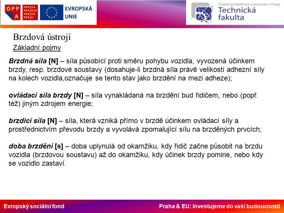 Evropský sociální fond Praha & EU: Investujeme do vaší budoucnosti Brzdová ústrojí Podle způsobu přenosu ovládací síly Přímočinné Mechanické – ovládané přes mechanický převod (pákový, lanový,…) Hydraulické – s hydraulickým převodem Strojní – působí jiný zdroj energie než síla řidiče; podle druhu energie se dál dělí na Hydraulické – působí tlak kapaliny z jiného zdroje Pneumatické – působí tlak stlačeného vzduchu Polostrojní – spolu se svalovou silou řidiče působí další zdroj energie (posilovač); podle použitého druhu energie se dělí na brzdy s posilovačem: Hydraulickým – ke zvýšení ovládací síly je využito tlaku kapaliny z jiného zdroje Pneumatickým – přetlakovým nebo podtlakovým