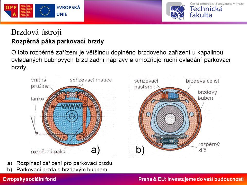Evropský sociální fond Praha & EU: Investujeme do vaší budoucnosti Brzdová ústrojí Rozpěrná páka parkovací brzdy O toto rozpěrné zařízení je většinou doplněno brzdového zařízení u kapalinou ovládaných bubnových brzd zadní nápravy a umožňuje ruční ovládání parkovací brzdy.