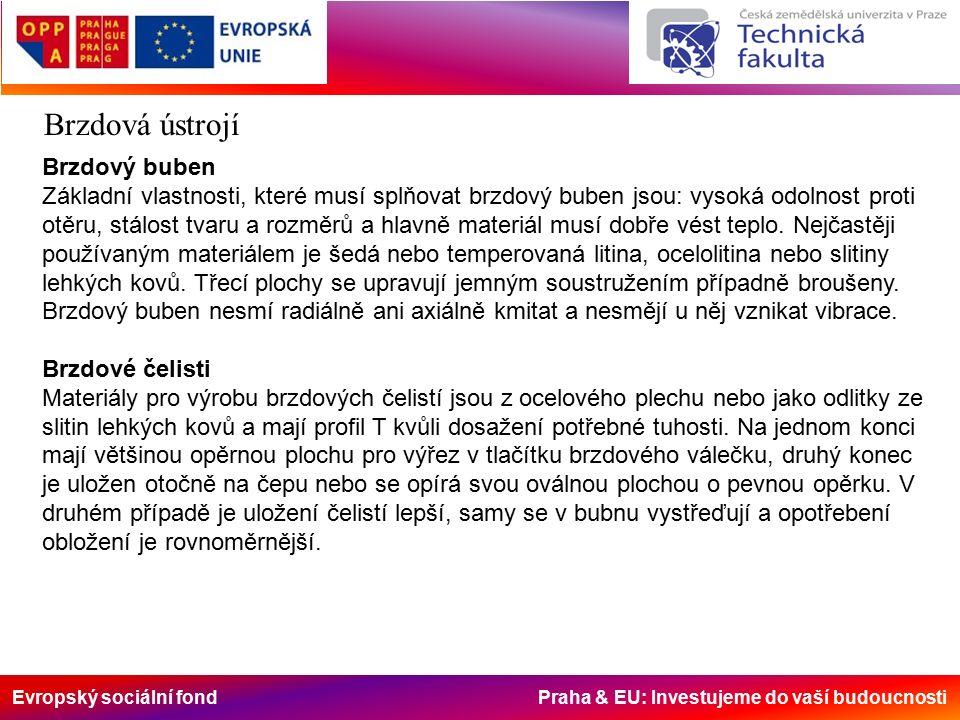 Evropský sociální fond Praha & EU: Investujeme do vaší budoucnosti Brzdová ústrojí Brzdový buben Základní vlastnosti, které musí splňovat brzdový buben jsou: vysoká odolnost proti otěru, stálost tvaru a rozměrů a hlavně materiál musí dobře vést teplo.