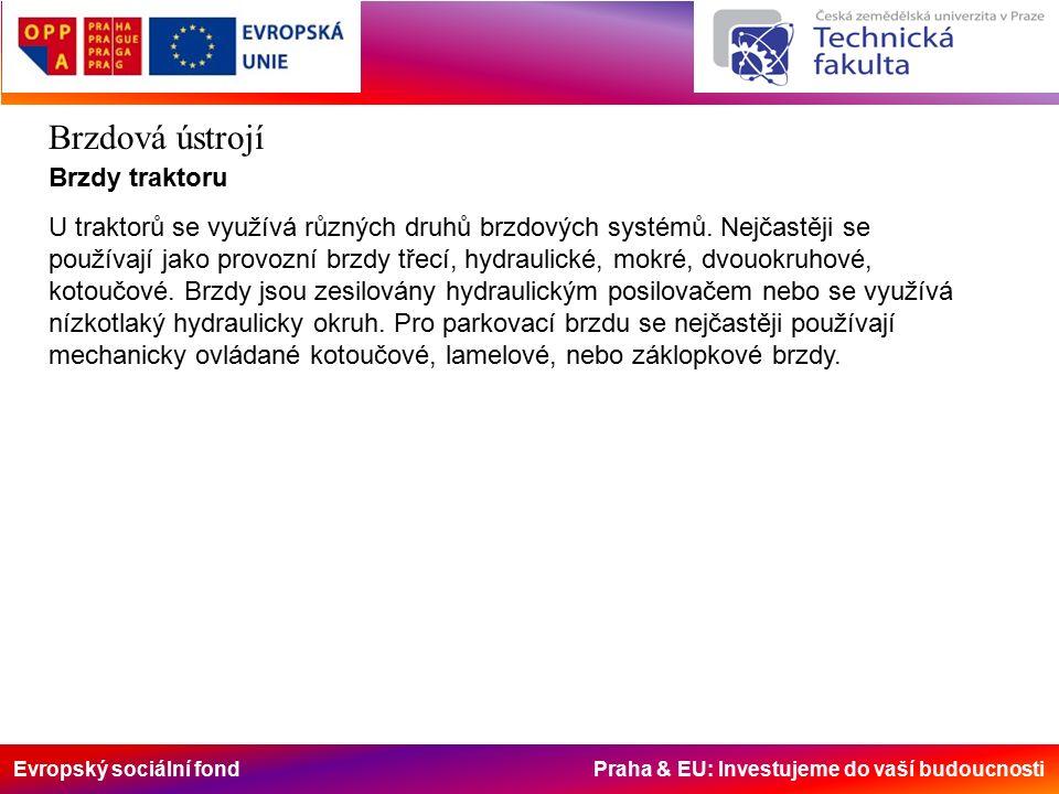 Evropský sociální fond Praha & EU: Investujeme do vaší budoucnosti Brzdová ústrojí Brzdy traktoru U traktorů se využívá různých druhů brzdových systémů.