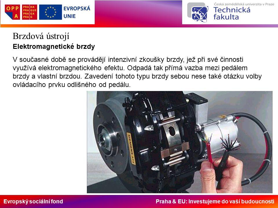 Evropský sociální fond Praha & EU: Investujeme do vaší budoucnosti Brzdová ústrojí Elektromagnetické brzdy V současné době se provádějí intenzivní zkoušky brzdy, jež při své činnosti využívá elektromagnetického efektu.