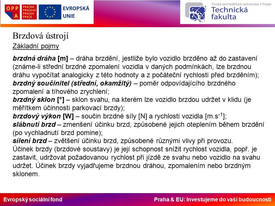 Evropský sociální fond Praha & EU: Investujeme do vaší budoucnosti Brzdová ústrojí Vlastnosti bubnových brzd Samoposilovací účinek jednonáběžné brzdy