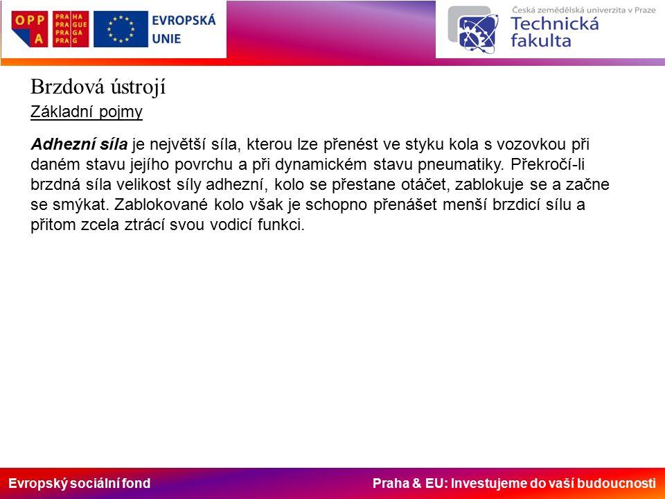 Evropský sociální fond Praha & EU: Investujeme do vaší budoucnosti Brzdová ústrojí Základní pojmy Adhezní síla je největší síla, kterou lze přenést ve styku kola s vozovkou při daném stavu jejího povrchu a při dynamickém stavu pneumatiky.