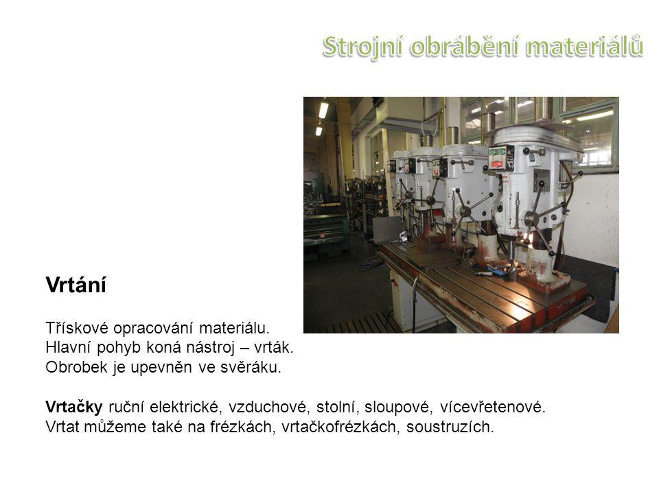 Vrtání Třískové opracování materiálu. Hlavní pohyb koná nástroj – vrták.