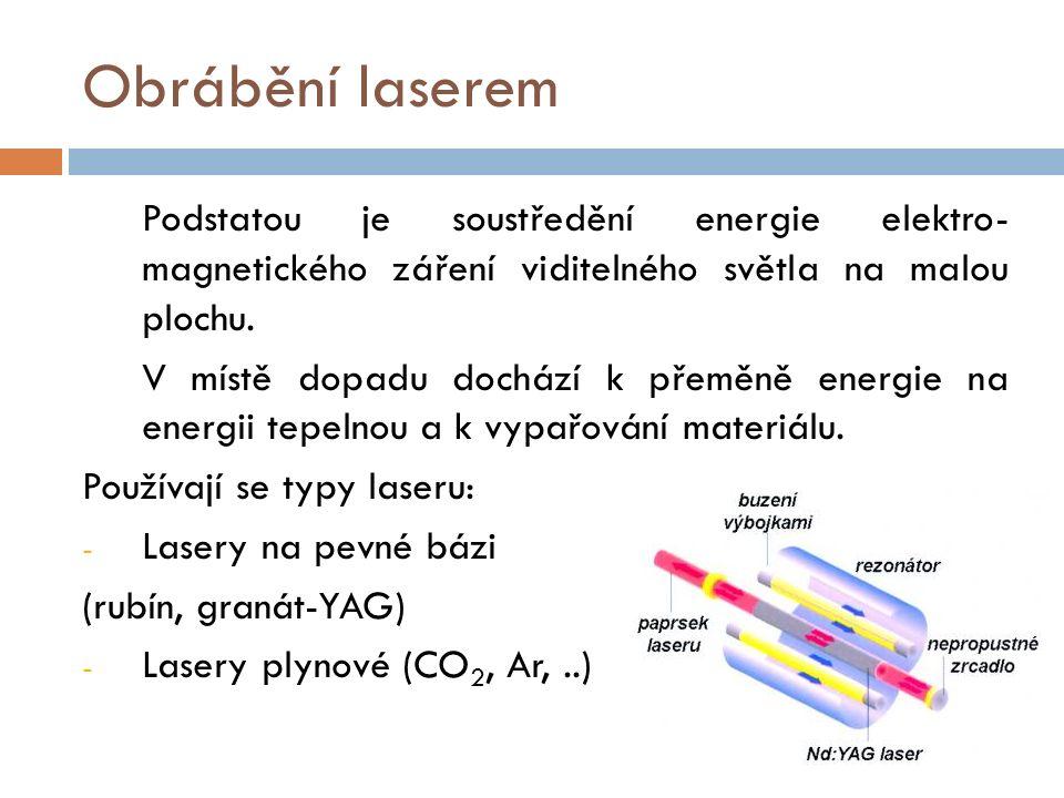 Obrábění laserem Podstatou je soustředění energie elektro- magnetického záření viditelného světla na malou plochu.