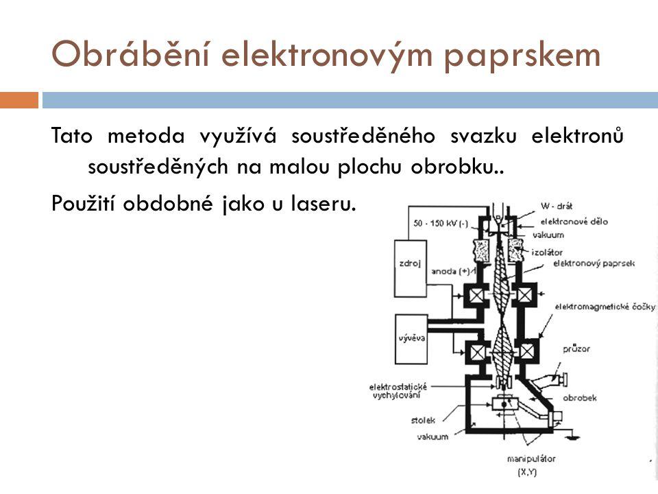 Obrábění elektronovým paprskem Tato metoda využívá soustředěného svazku elektronů soustředěných na malou plochu obrobku..
