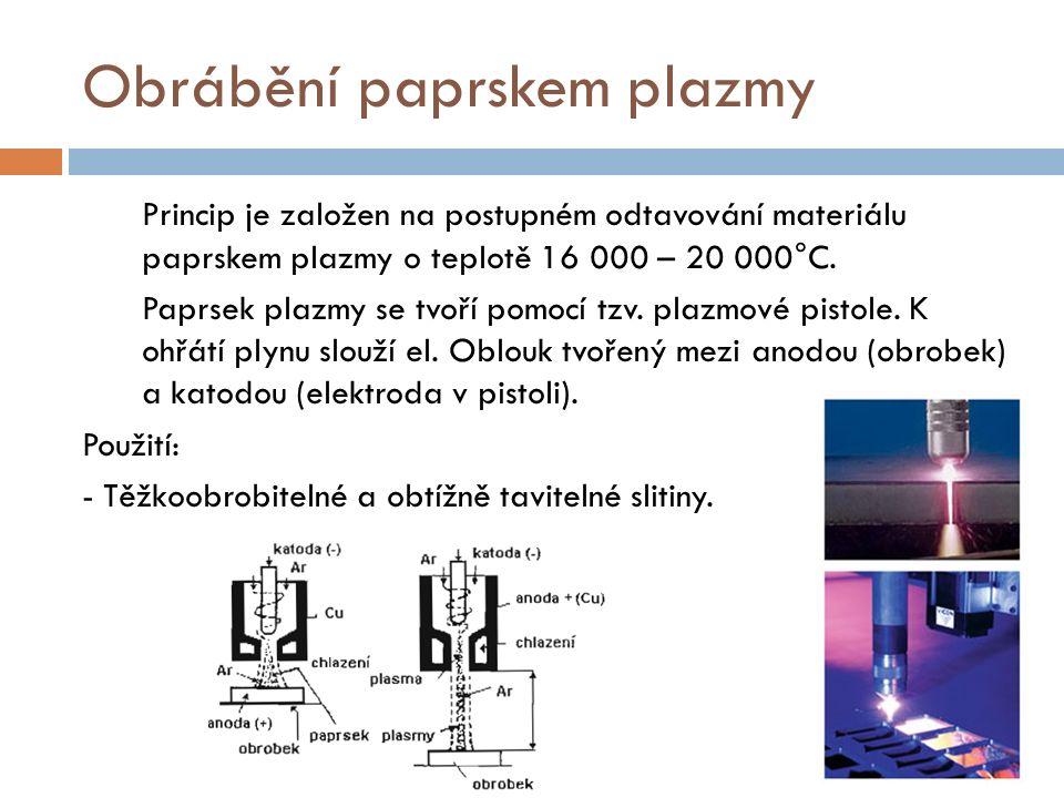Obrábění paprskem plazmy Princip je založen na postupném odtavování materiálu paprskem plazmy o teplotě 16 000 – 20 000°C.