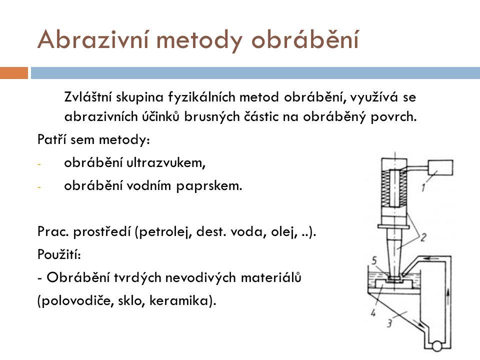 Abrazivní metody obrábění Zvláštní skupina fyzikálních metod obrábění, využívá se abrazivních účinků brusných částic na obráběný povrch.