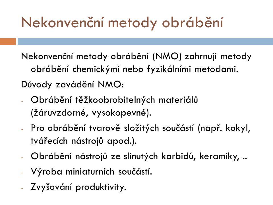 Nekonvenční metody obrábění Nekonvenční metody obrábění (NMO) zahrnují metody obrábění chemickými nebo fyzikálními metodami.