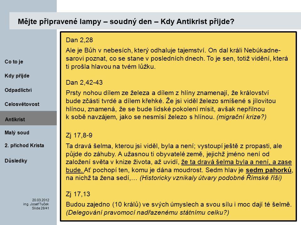 Antikrist Kdy přijde 20.03.2012 ing. Josef Tuček Slide 28/41 Co to je Malý soud 2.
