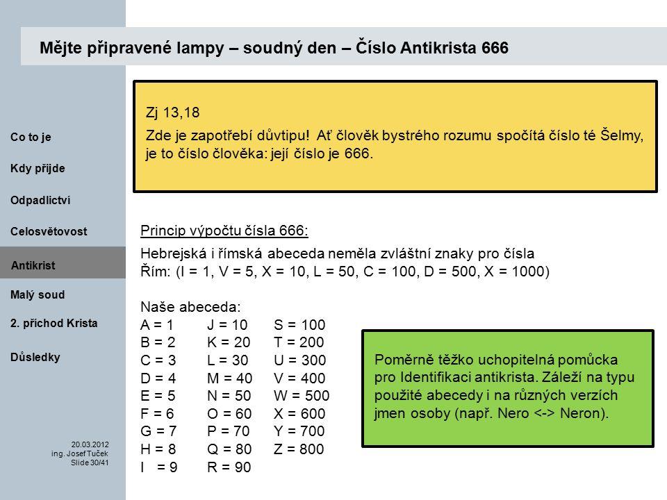 Antikrist Kdy přijde 20.03.2012 ing. Josef Tuček Slide 30/41 Co to je Malý soud 2.
