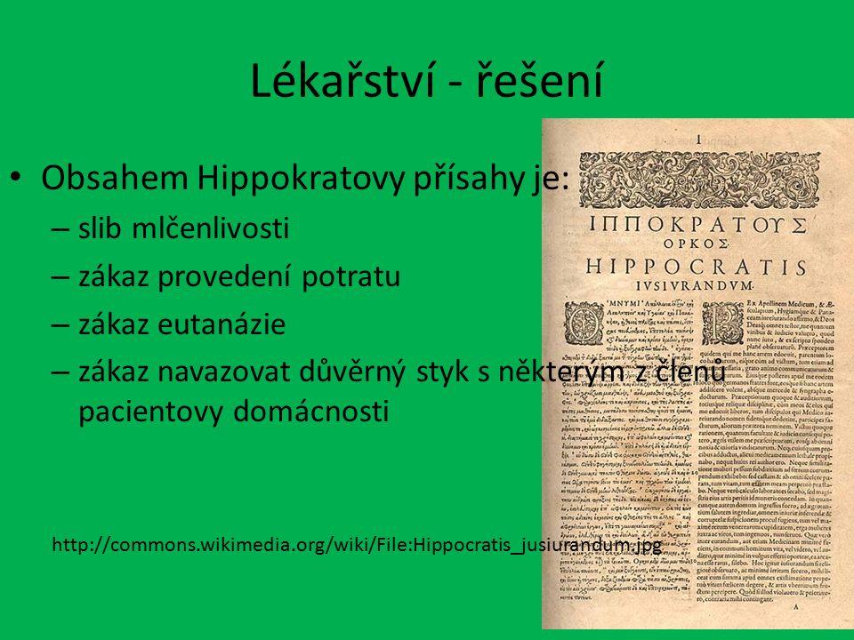 Lékařství - řešení Obsahem Hippokratovy přísahy je: – slib mlčenlivosti – zákaz provedení potratu – zákaz eutanázie – zákaz navazovat důvěrný styk s n