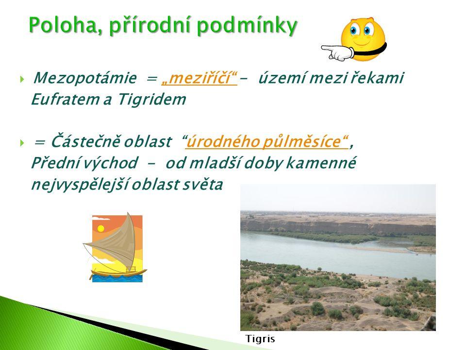 """ Mezopotámie = """"meziříčí"""" - území mezi řekami""""meziříčí"""" Eufratem a Tigridem  = Částečně oblast """"úrodného půlměsíce"""",úrodného půlměsíce"""" Přední výcho"""
