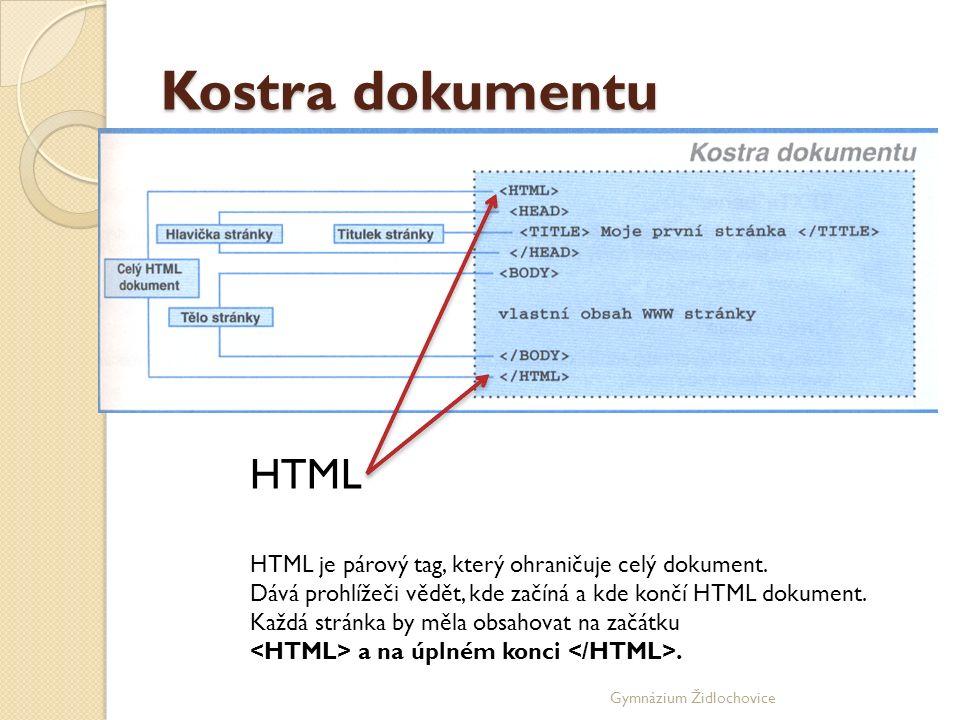 Gymnázium Židlochovice Kostra dokumentu HTML HTML je párový tag, který ohraničuje celý dokument.