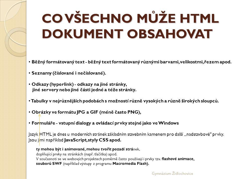 Gymnázium Židlochovice Kostra dokumentu TITLE Mezi párovým tagem TITLE je uveden titulek hlavičky.