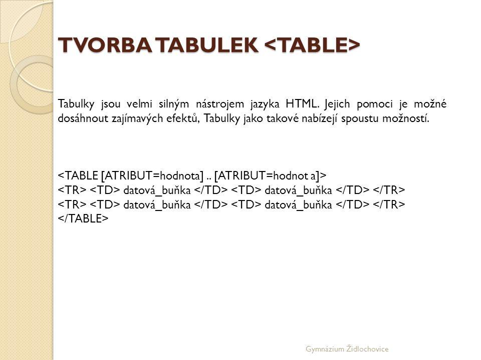 Gymnázium Židlochovice TVORBA TABULEK TVORBA TABULEK Tabulky jsou velmi silným nástrojem jazyka HTML.